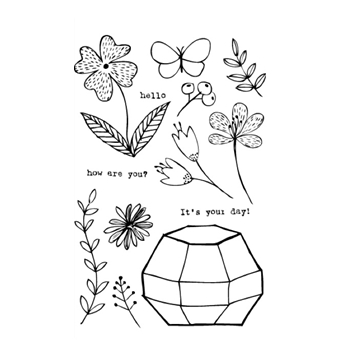 Flora and Fauna OCTAGON GREENHOUSE Clear Stamp Set 20129