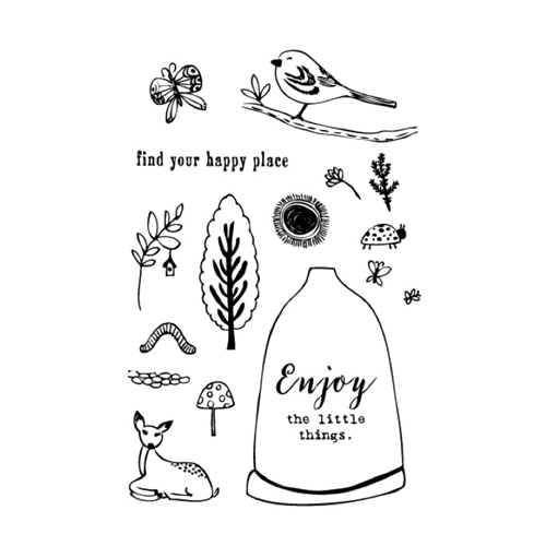 Flora and Fauna HAPPY PLACE WOODLANDS Clear Stamp Set 20121* Preview Image