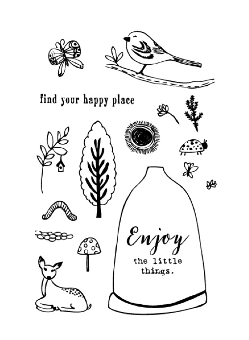 Flora and Fauna HAPPY PLACE WOODLANDS Clear Stamp Set 20121* zoom image