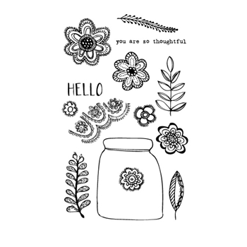 Flora and Fauna FLORAL LACE JAR Clear Stamp Set 20120