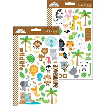 Doodlebug AT THE ZOO Mini Icons Sticker Sheets 5712