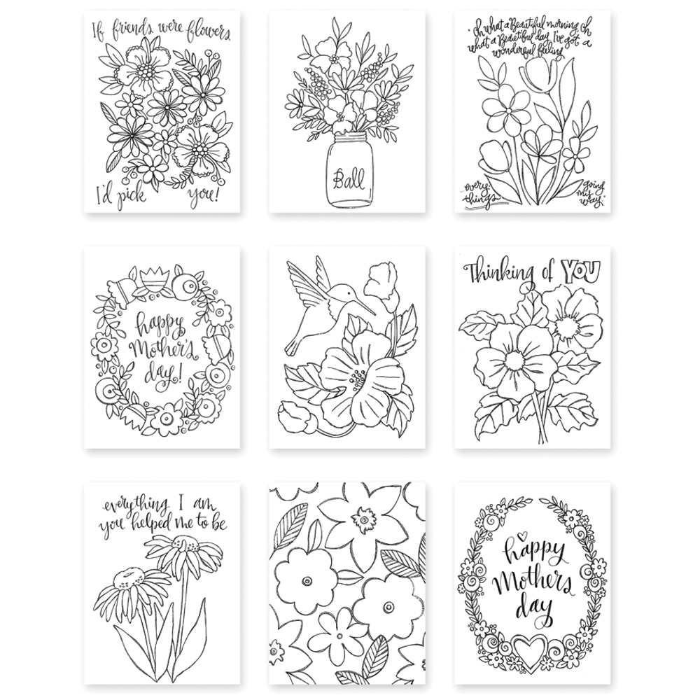 Simon Says Stamp Suzy's MOTHERS AND FLOWERS Watercolor Paintable Prints