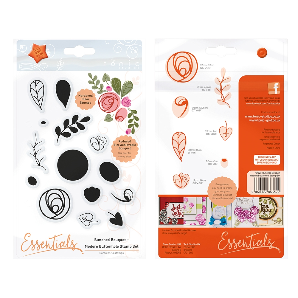 Tonic MODERN BUTTONHOLE Bunched Bouquet Clear Stamp Set 1362E* zoom image
