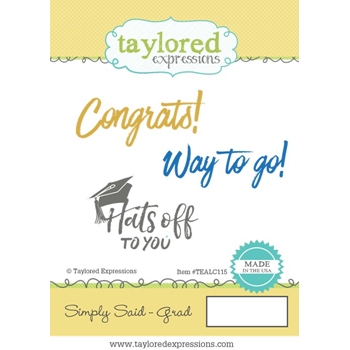 Taylored Expressions SIMPLY SAID GRAD Cling Stamp Set TEALC115