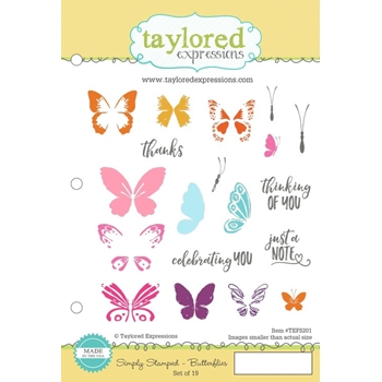 Taylored Expressions SIMPLY STAMPED BUTTERFLIES Cling Stamp Set TEFS201
