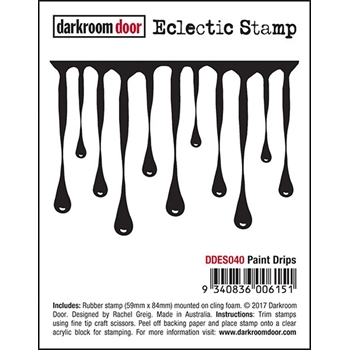Darkroom Door Cling Stamp PAINT DRIPS Eclectic Rubber UM DDES040
