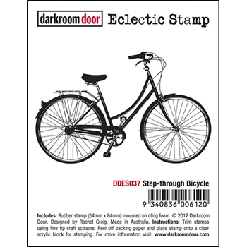 Darkroom Door Cling Stamp STEP-THROUGH BICYCLE Eclectic Rubber UM DDES037