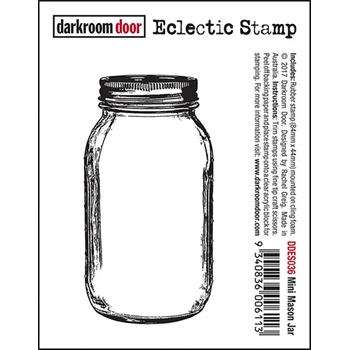 Darkroom Door Cling Stamp MINI MASON JAR Eclectic Rubber UM DDES036