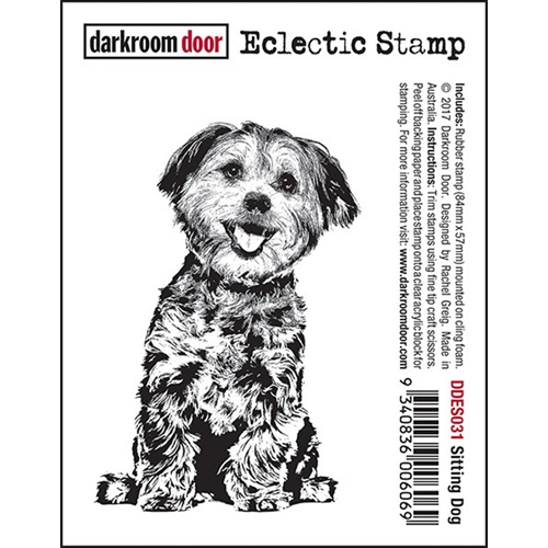 Darkroom Door Cling Stamp SITTING DOG Eclectic Rubber UM DDES031 Preview Image