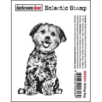 Darkroom Door Cling Stamp SITTING DOG Eclectic Rubber UM DDES031