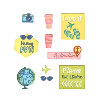 Sizzix Framelits TRAVEL PLANNER Combo Die and Stamp Set 661972