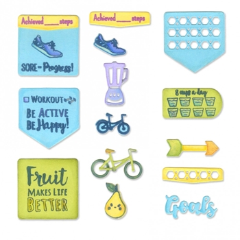 Sizzix Framelits HEALTH AND FITNESS PLANNER Combo Die and Stamp Set 661971