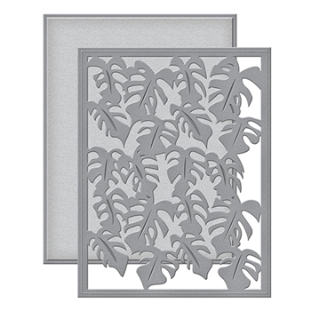 S5-283 Spellbinders MONSTERA LEAF Card Front Etched Dies Tropical Paradise by Lene Lok