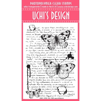 Uchi's Design VINTAGE LETTER BACKGROUND Clear Stamp N10