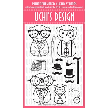 Uchi's Design HIPSTER OWLS Clear Stamp N110