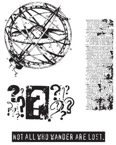 Tim Holtz Cling Rubber Stamps WORLD TRAVELER Stampers Anonymous CMS027