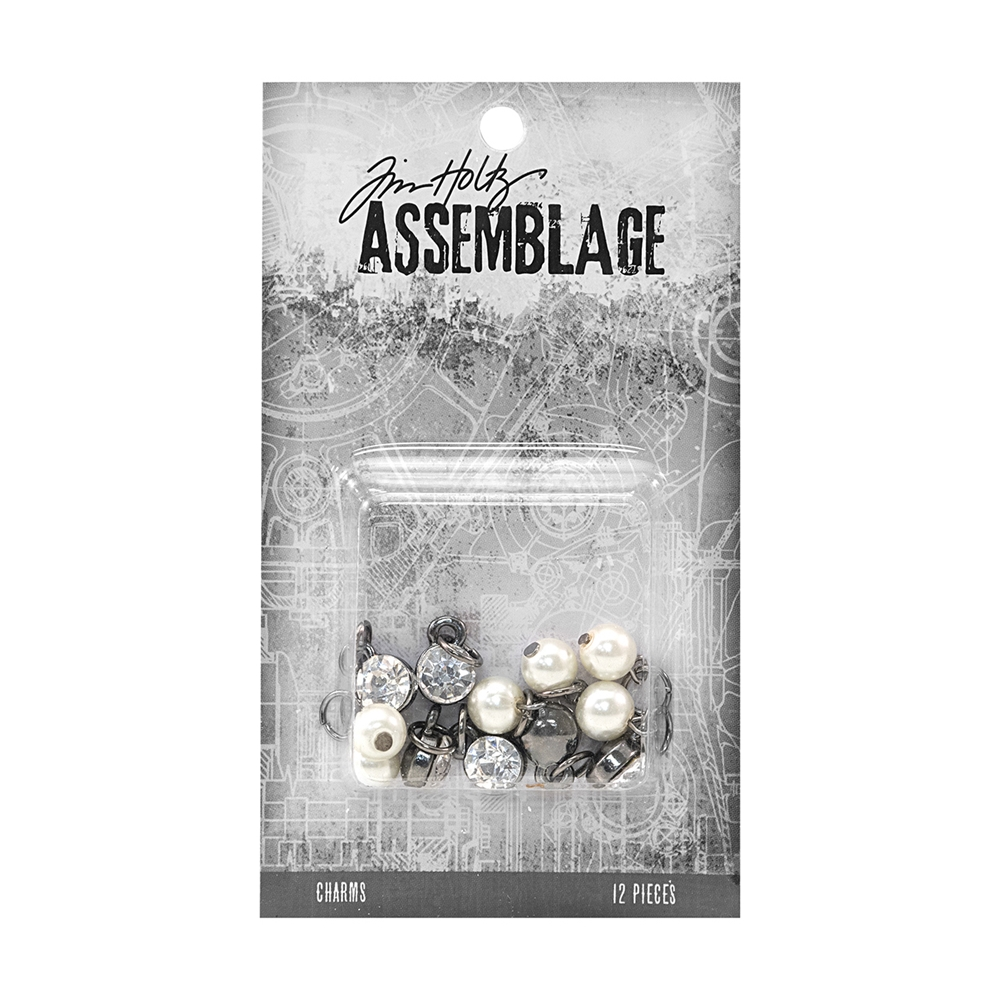 Tim Holtz Assemblage PACK OF 12 DIAMONDS AND PEARLS CHARMS THA20028 zoom image