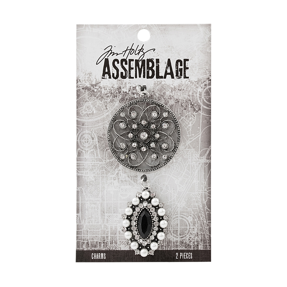 Tim Holtz Assemblage ORNATE MEDALLION AND BLACK CAT'S EYE CHARMS THA20023 zoom image