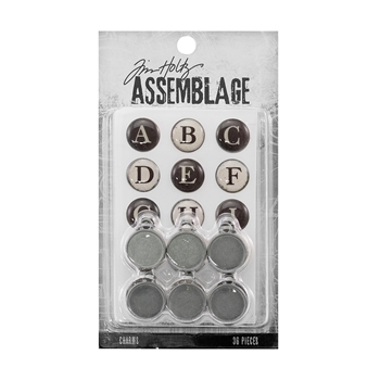 Tim Holtz Assemblage PACK OF 36 TYPEWRITER KEYS CHARMS THA20050