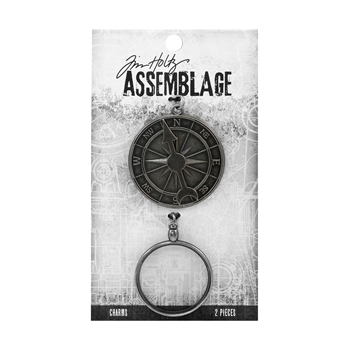 Tim Holtz Assemblage PACK OF 2 COMPASS AND MONOCLE CHARMS THA20027
