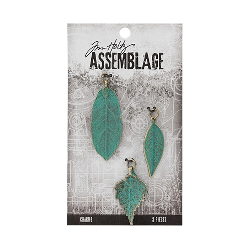Tim Holtz Assemblage PACK OF 3 LARGE PATINA LEAVES CHARMS THA20042 Preview Image