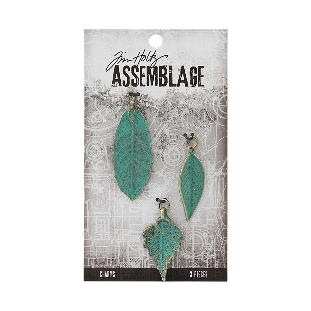 Tim Holtz Assemblage PACK OF 3 LARGE PATINA LEAVES CHARMS THA20042 zoom image