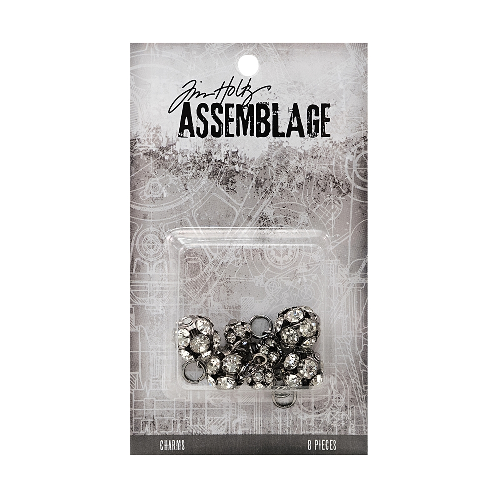 Tim Holtz Assemblage PACK OF 8 SPARKLING RONDELLS CHARMS THA20046 zoom image