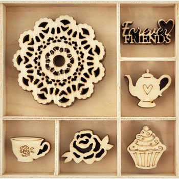Kaisercraft TEA PARTY Wooden Shapes Flourish Pack FL598