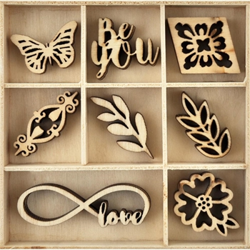 Kaisercraft BE YOU Wooden Shapes Flourish Pack FL599