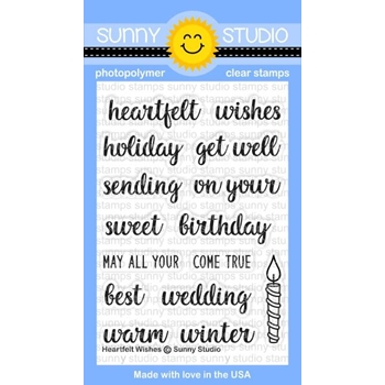 Sunny Studio HEARTFELT WISHES Clear Stamp Set SSCL163