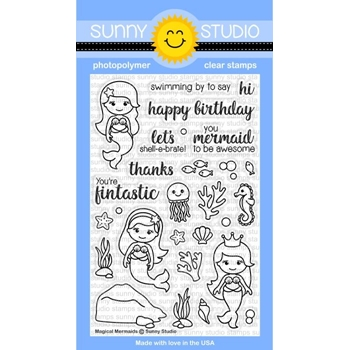 Sunny Studio MAGICAL MERMAIDS Clear Stamp Set SSCL157