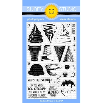 Sunny Studio TWO SCOOPS Clear Stamp Set SSCL161