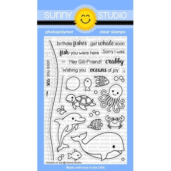 Sunny Studio OCEANS OF JOY Clear Stamp Set SSCL158