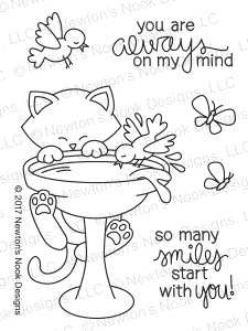 Newton's Nook Designs NEWTON'S BIRDBATH Clear Stamp Set 20170704