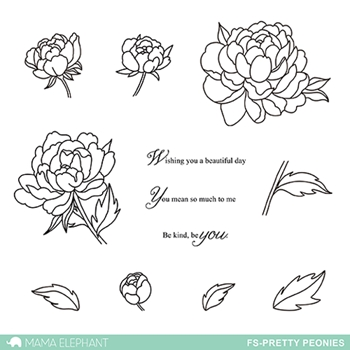 Mama Elephant Clear Stamp Floral Series PRETTY PEONIES