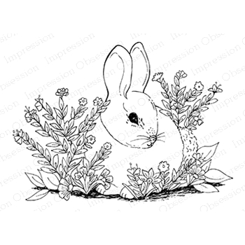Impression Obsession Cling Stamp GARDEN BUNNY H16283