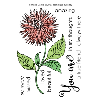 Technique Tuesday FRINGED DAHLIA Greenhouse Society Clear Stamps 02479