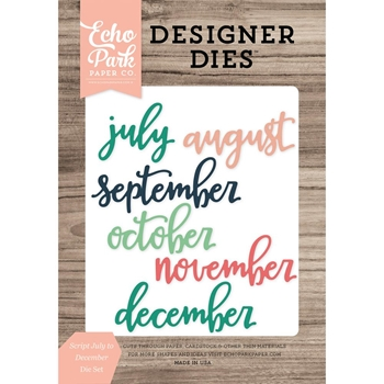 Echo Park SCRIPT JULY TO DECEMBER Die Set EPPDIE734