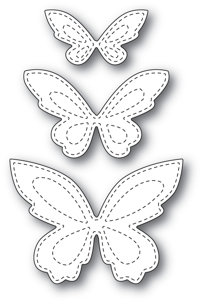 Memory Box STITCHED BUTTERFLY TRIO POPPY STAMPS Craft Die 1798 zoom image