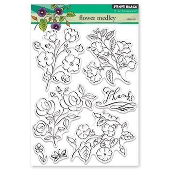 Penny Black FLOWER MEDLEY Clear Stamp Set 30-421
