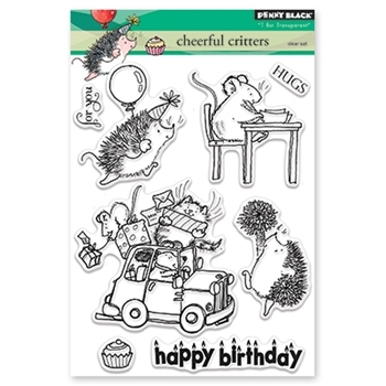 Penny Black CHEERFUL CRITTERS Clear Stamp Set 30-426