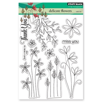 Penny Black DELICATE FLOWERS Clear Stamp Set 30-431