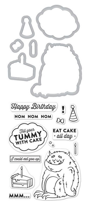 Hero Arts Stamp And Cuts EAT CAKE ALL DAY Coordinating Set DC210 zoom image