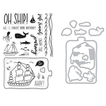 Hero Arts ENJOY THE JOURNEY Clear Stamp and Die Combo SB163
