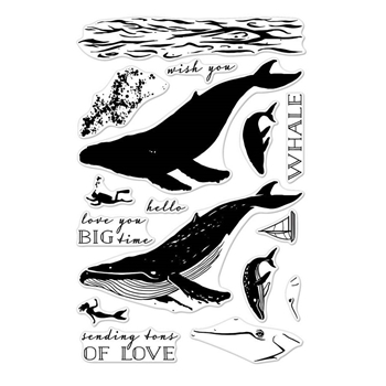 Hero Arts Clear Stamps Color Layering BLUE WHALE CM162