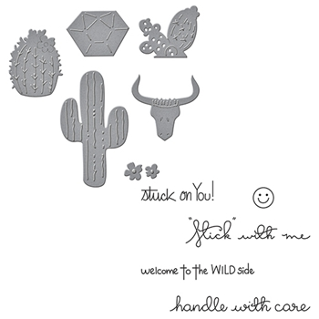 SDS-030 Spellbinders CACTI WILD AND FREE by Debi Adams Stamp & Die Set