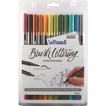 Marvy LE PLUME II BRUSH LETTERING NATURAL ColorIn Double Ended Marker 12 Set 1122BL1212L