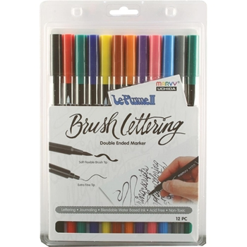 Marvy LE PLUME II BRUSH LETTERING PRIMARY ColorIn Double Ended Marker 12 Set 1122BL1212I