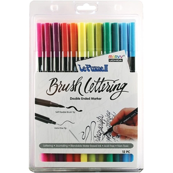 Marvy LE PLUME II BRUSH LETTERING BRIGHT ColorIn Double Ended Marker 12 Set 1122BL1212J