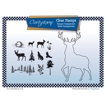 Claritystamp STAG OUTLINE Clear Stamps and Mask STABI10511A5